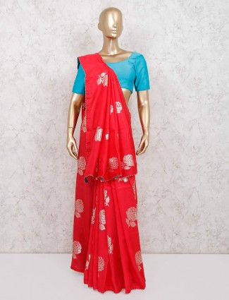 Wedding wear red dola silk saree