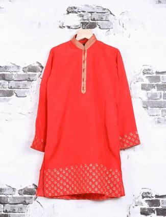 Wedding wear red hue kurta suit