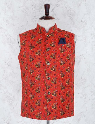 Wedding wear red hue terry rayon waistcoat