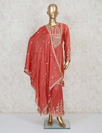 Wedding wear red silk sharara suit with introcate embroidery