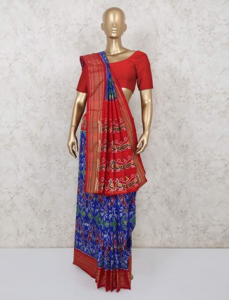 Wedding wear royal blue hydrabadi patola silk saree
