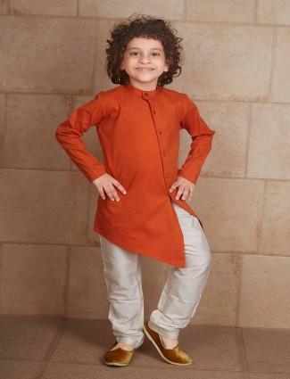 Wedding wear rust orange kurta suit for boys