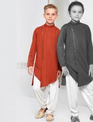 Wedding wear rust orange pathani suit