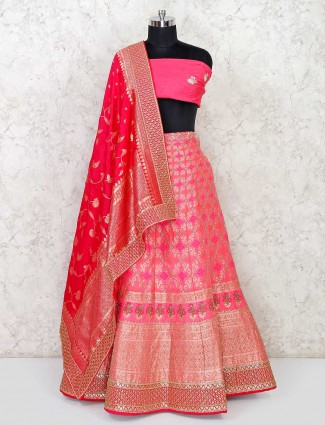 Wedding wear semi stitched banarasi silk lehenga in pink