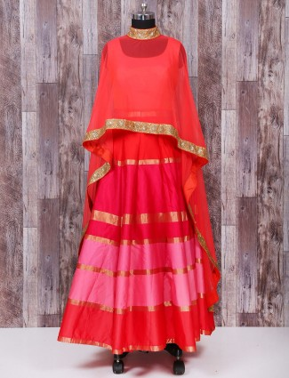 Wedding wear silk anarkali suit in red color