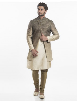 Wedding wear silk indo western in beige color