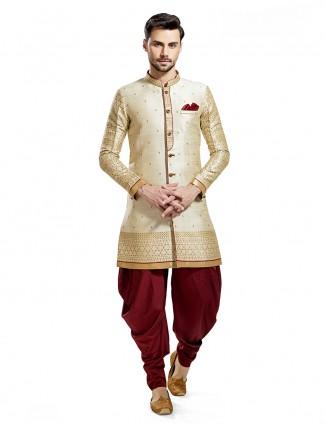 Wedding wear silk kurta suit in cream color