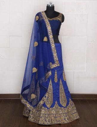 Wedding wear silk unstitched lehenga choli in blue color