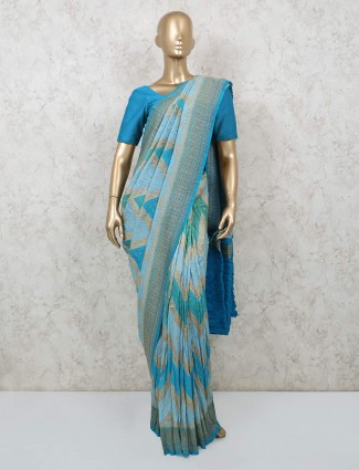 Wedding wear sky blue pure banarasi silk saree