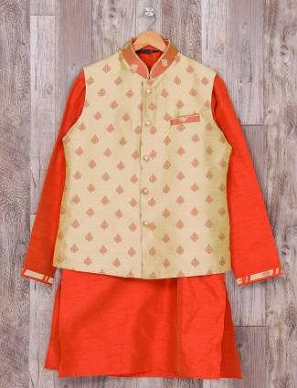 Wedding wear waistcoat set in red cream color
