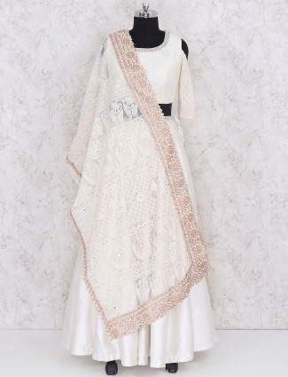 Wedding wear white colored raw silk lehenga choli