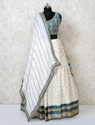 Wedding wear white georgette lehenga choli