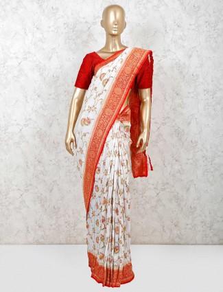 Wedding wear white muga silk saree