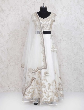 Wedding wear white net lehenga choli