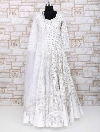 Wedding wear white silk designer gown