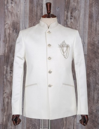 Wedding wear white terry rayon jodhpuri suit