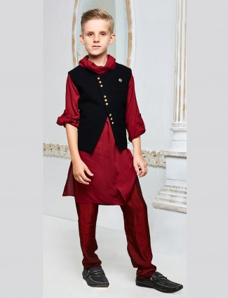 Wedding wear wine color waistcoat set