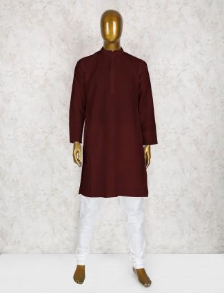 Wedding wear wine kurta suit