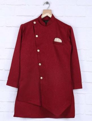 Wedding wear wine maroon colored kurta suit