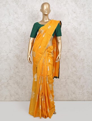 Wedding wear yellow colour saree in dola silk