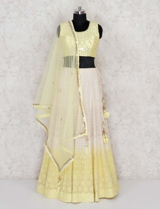 Wedding wear yellow georgette lehenga choli