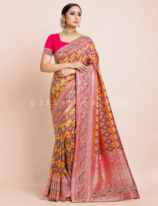 Wedding wear yellow patola silk saree with unstitched blouse