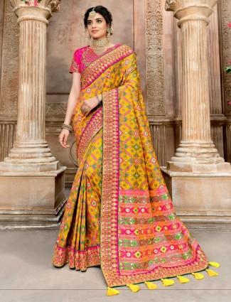 Wedding wear yellow pure patola silk saree