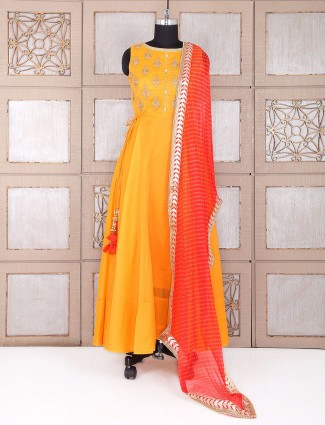 Wedding yellow color silk anarkali suit