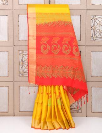 Wedding Yellow color silk saree for weddings
