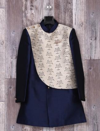 Weddingwear navy silk indo western