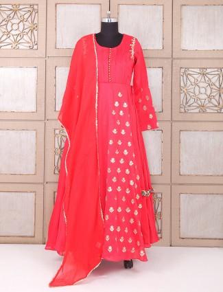 Weddingwear red silk anarkali suit
