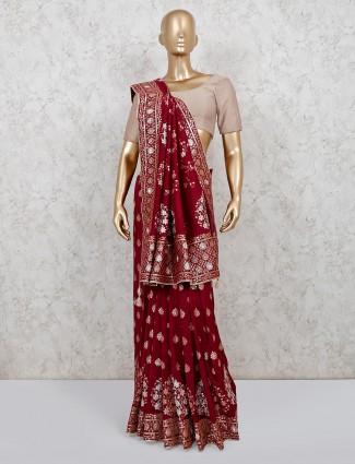Weding wear maroon dola silk saree