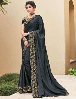 Weeding wear dark grey satin saree