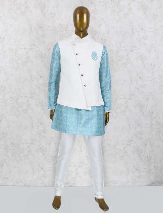White and aqua waistcoat set