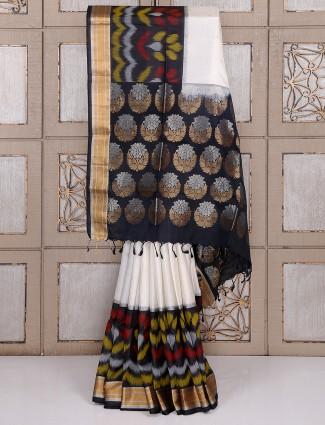 White and black color party wear silk saree