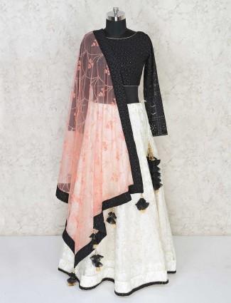 White and black party wear georgette lehenga choli