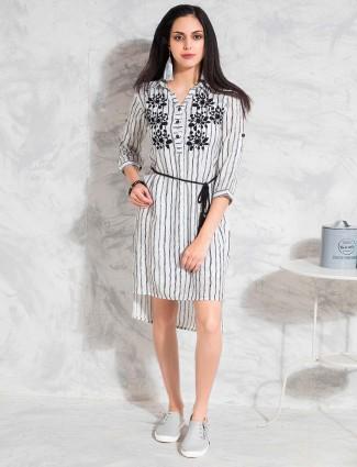 White and black stripe cotton top