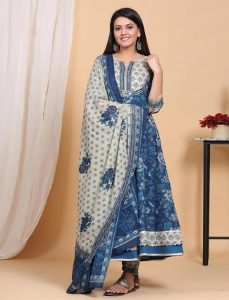 white and Blue printed anarkali kurti set in cotton