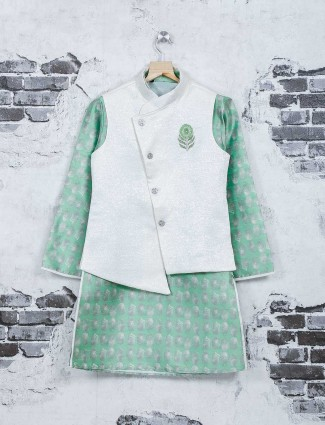 White and green color jute waistcoat set