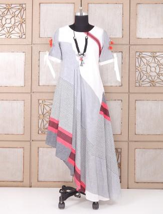 White and grey color cotton kurti