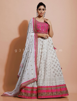White and magenta georgette lehenga choli