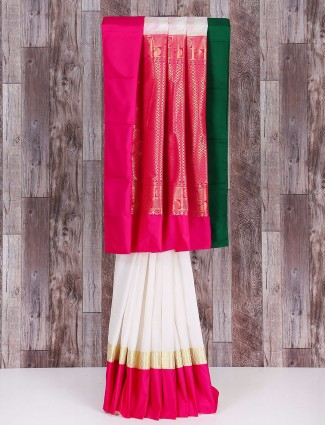 White and magenta silk saree
