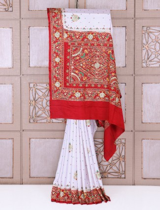 White and maroon wedding wear silk saree