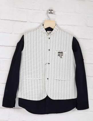 White and navy stripe terry rayon waistcoat shirt