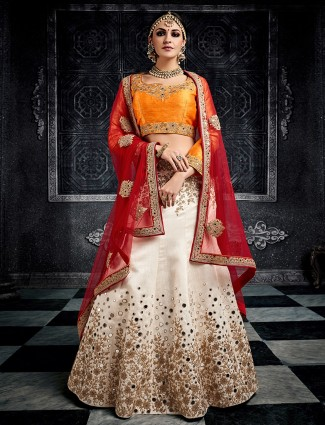 White and orange silk wedding wear lehenga choli