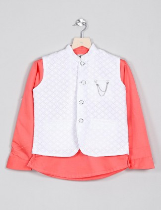 White and peach solid mens waistcoat shirt