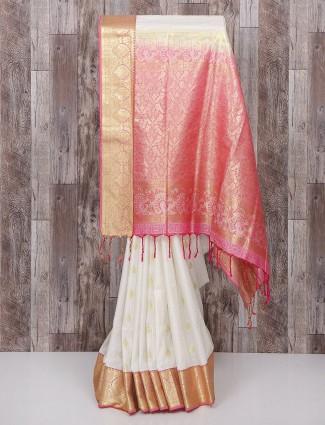 White and pink bangalore nano silk saree