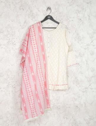 White and pink cotton fabric kurti set