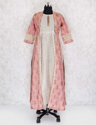 White and pink jacket style printed long kurti