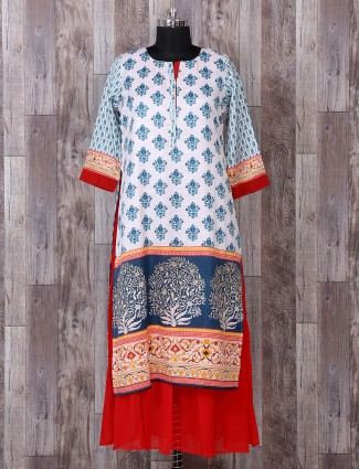 White and red color printed kurti